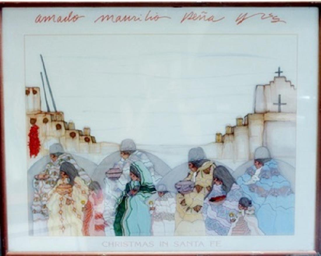 "Framed Amado Pena ""Christmas in Santa Fe"""
