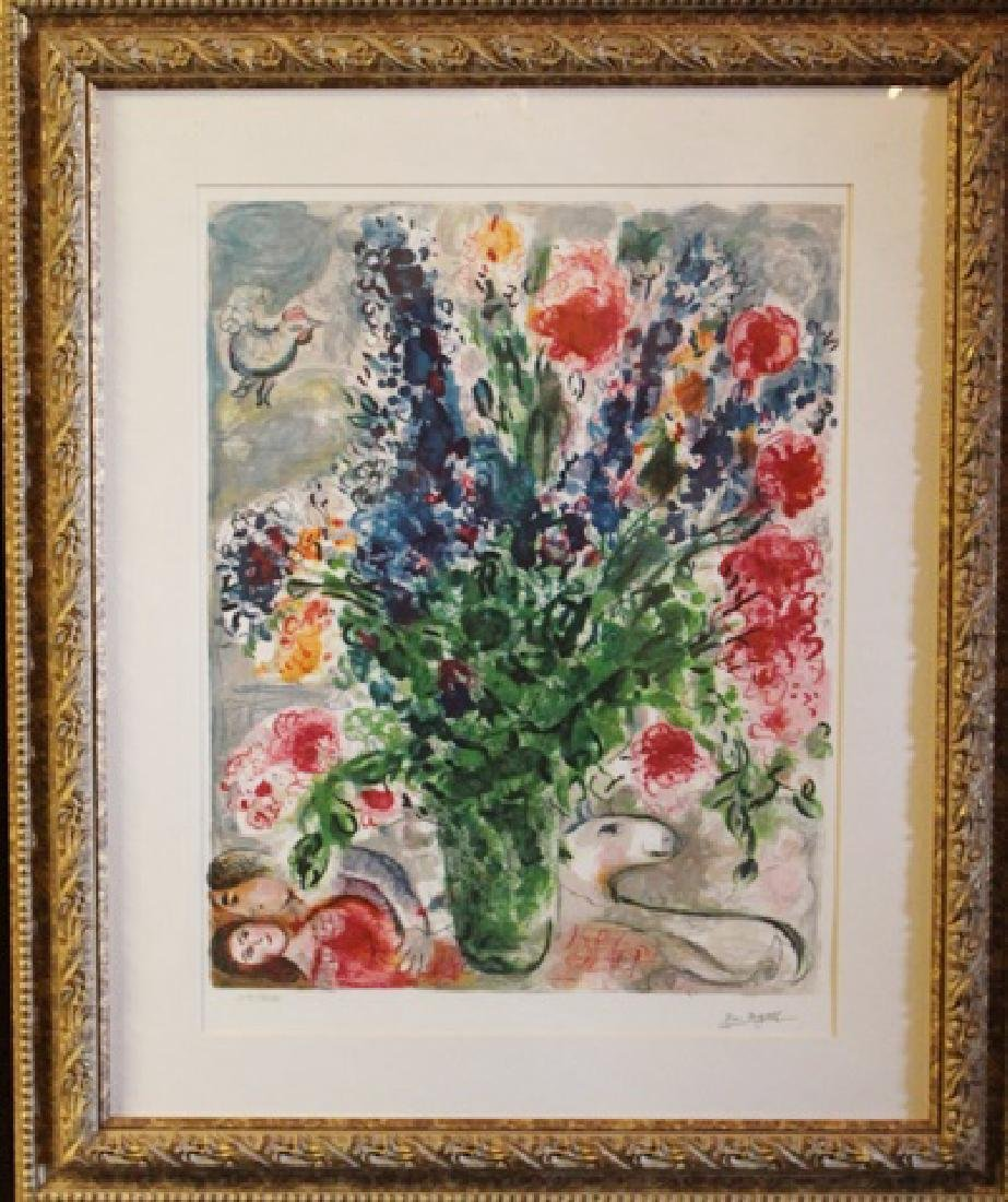 Framed Lithograph Marc Chagall - Les Lupins Bleus
