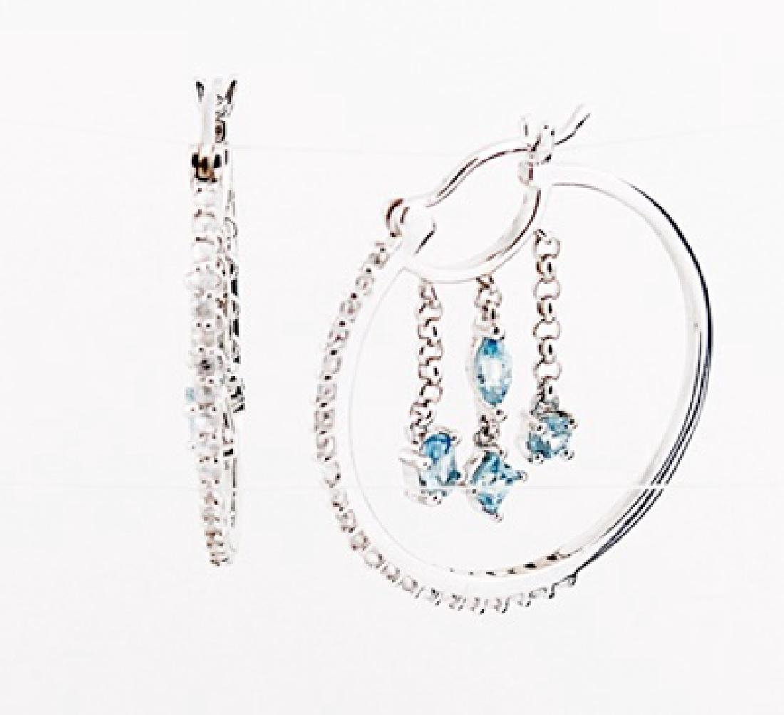 SILVER EARRING WITH WHITE ZIRCON AND BLUE ZIRCON