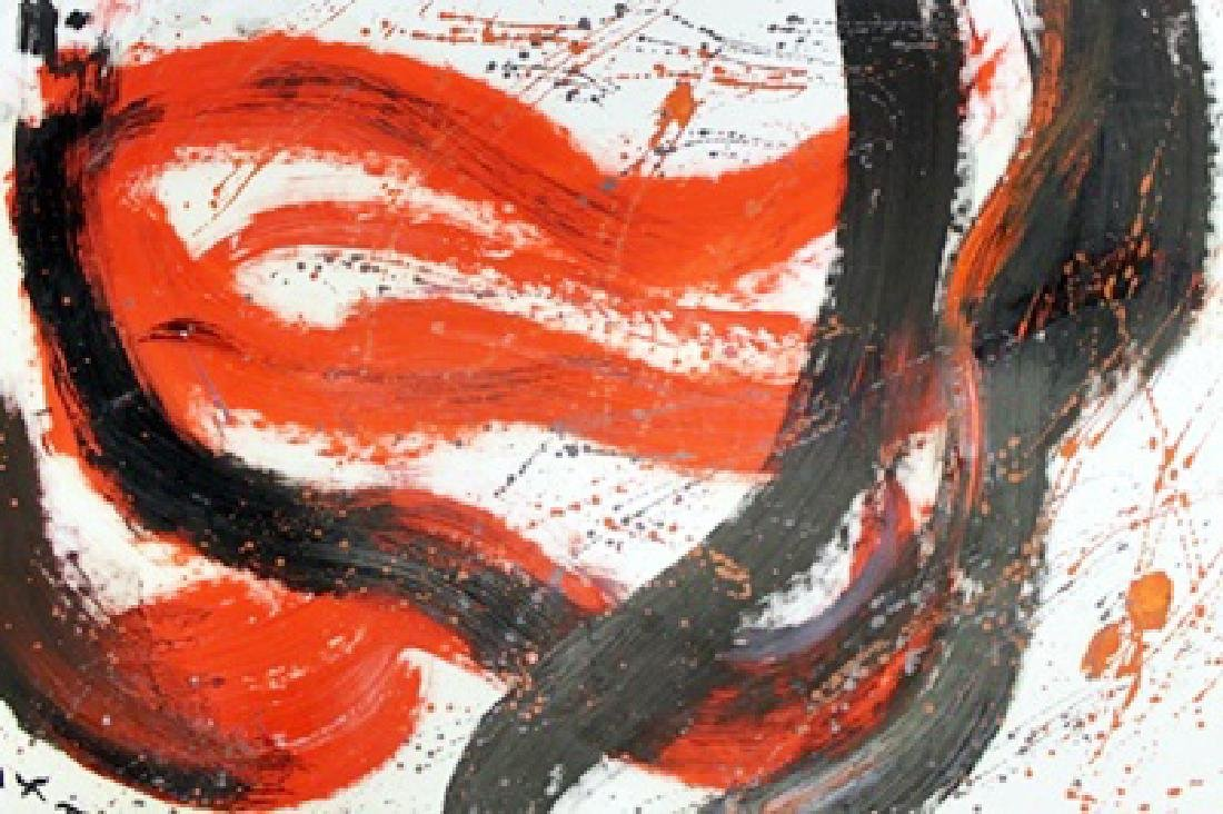 Untitled Oil On Paper - Kazuo Shiraga
