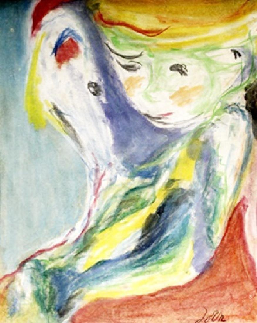 Boy With Dog - Asger Jorn - Pastel On Paper