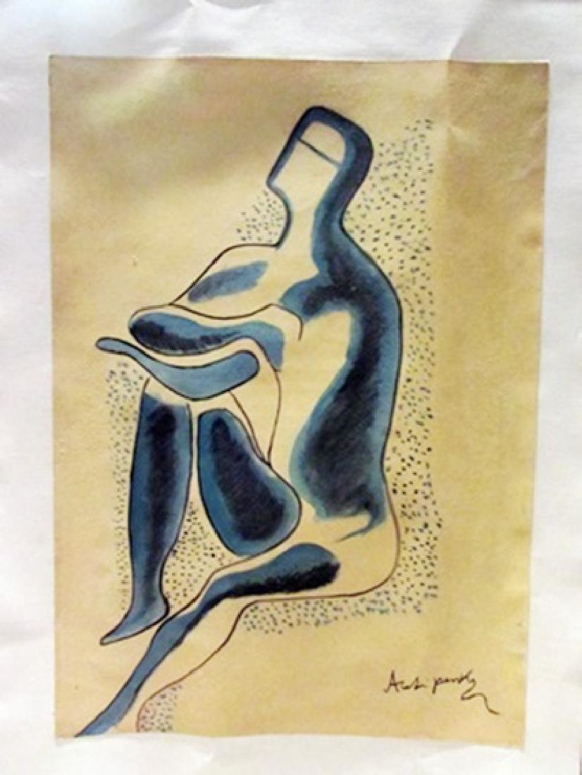 Alexander Archipenko - The Thinker Watercolor