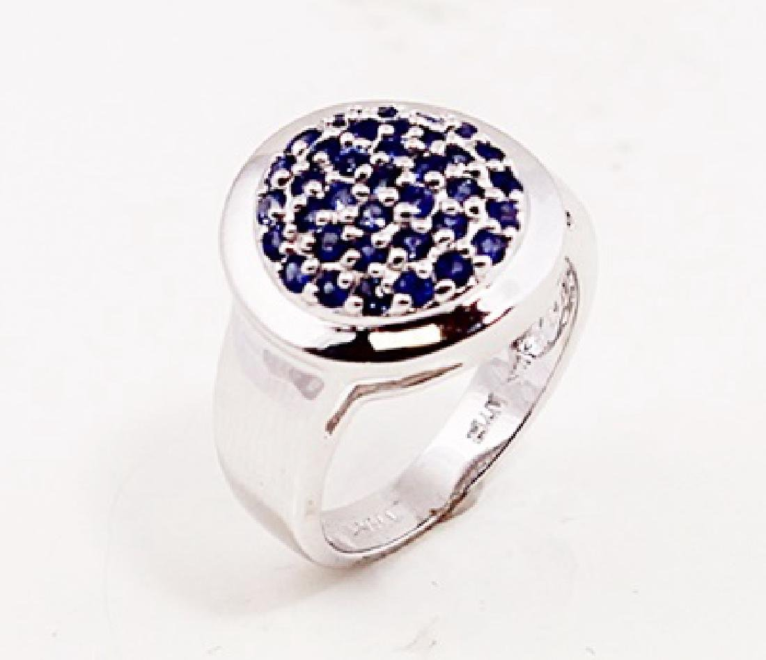 SILVER RING WITH SAPPHIRE