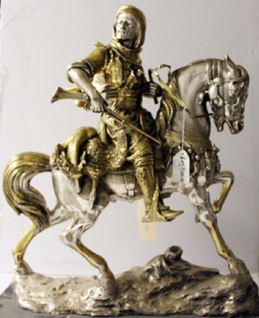 Arab on a Horseback - TwoTone Gold and Bronze Sculpture