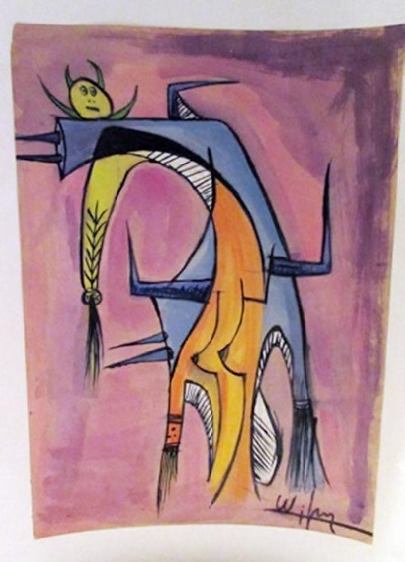 Wilfredo Lam - The Woman Watercolor