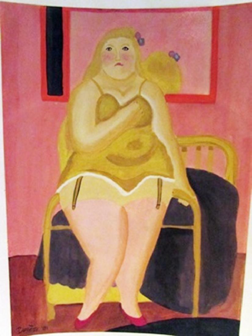 Fernando Botero - Woman in Bed Watercolor