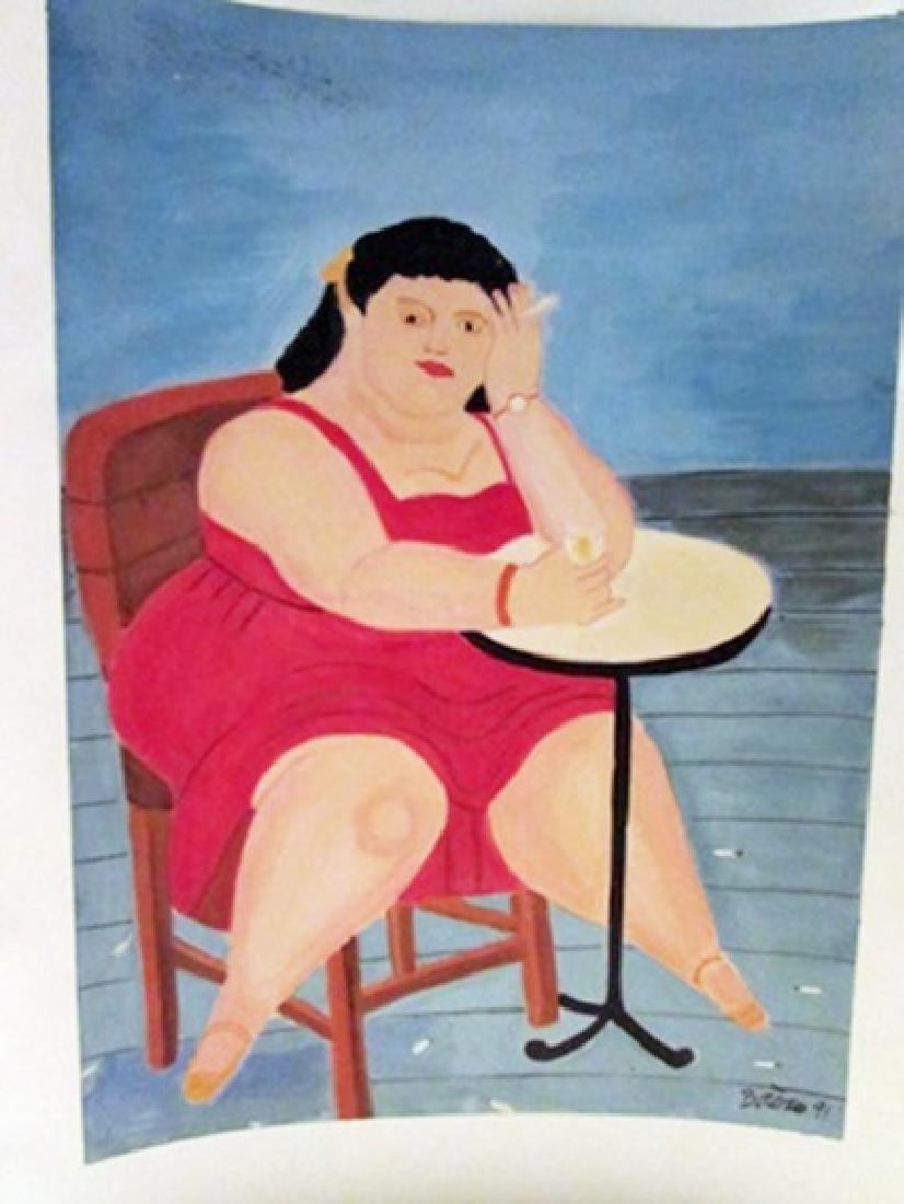 Fernando Botero - Dona Julia Watercolor