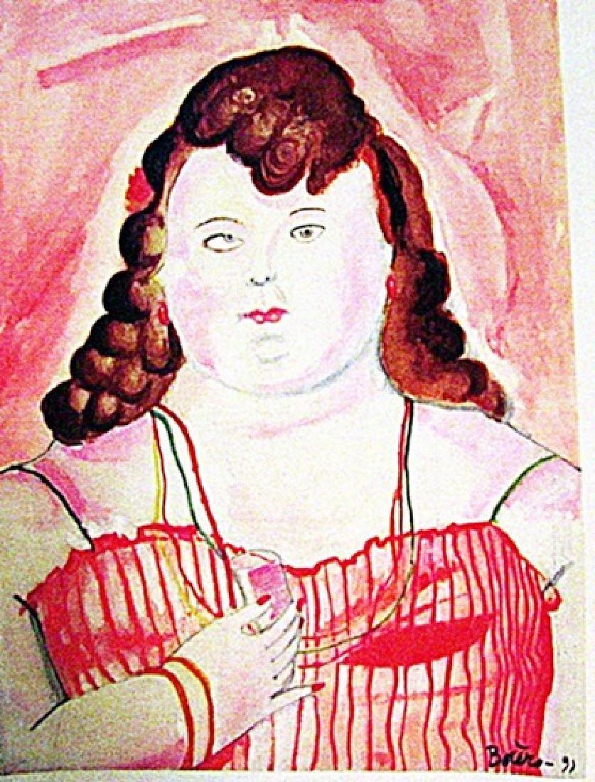 Fernando Botero - Claudia 1991 Watercolor