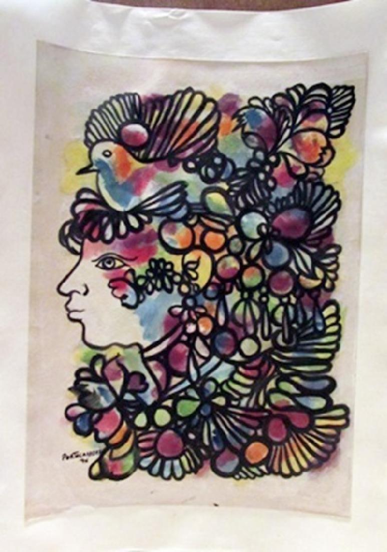 Rene Portocarrero - Woman with Bird Watercolor
