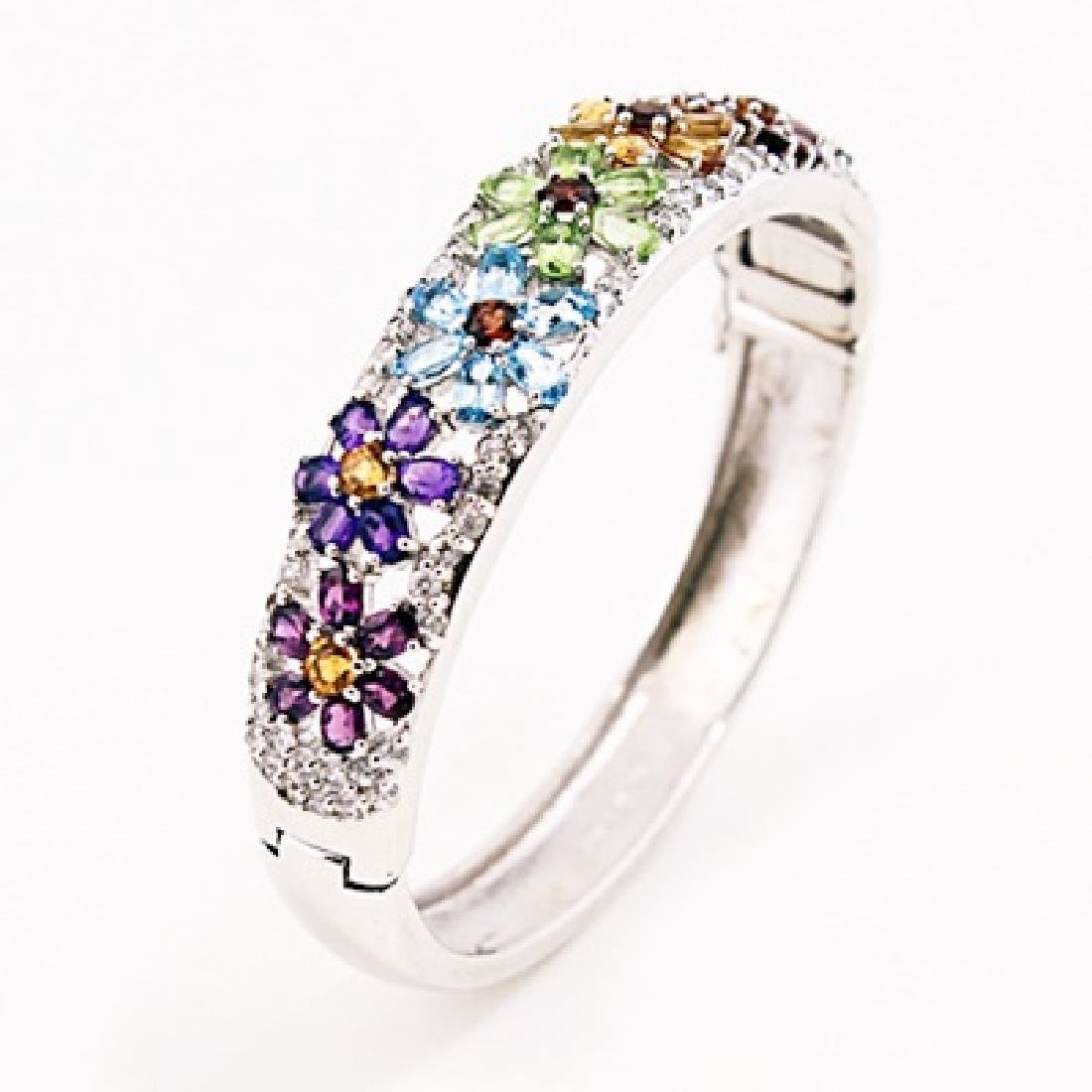SILVER BANGLE WITH MULTI GEMS