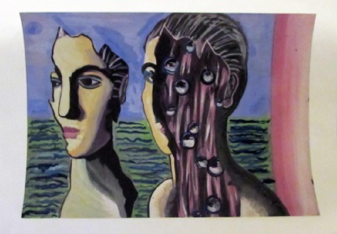 Rene Magritte - The Face 1950 Watercolor