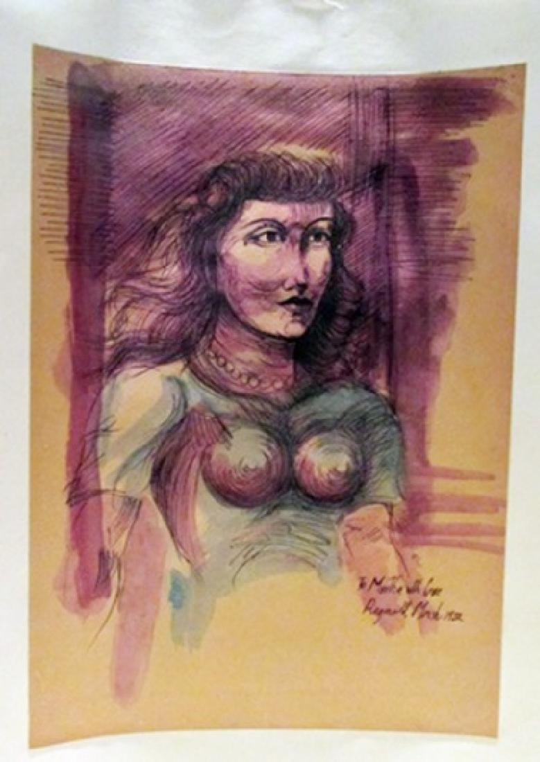Reginald Marsh - To Martha with Love Watercolor