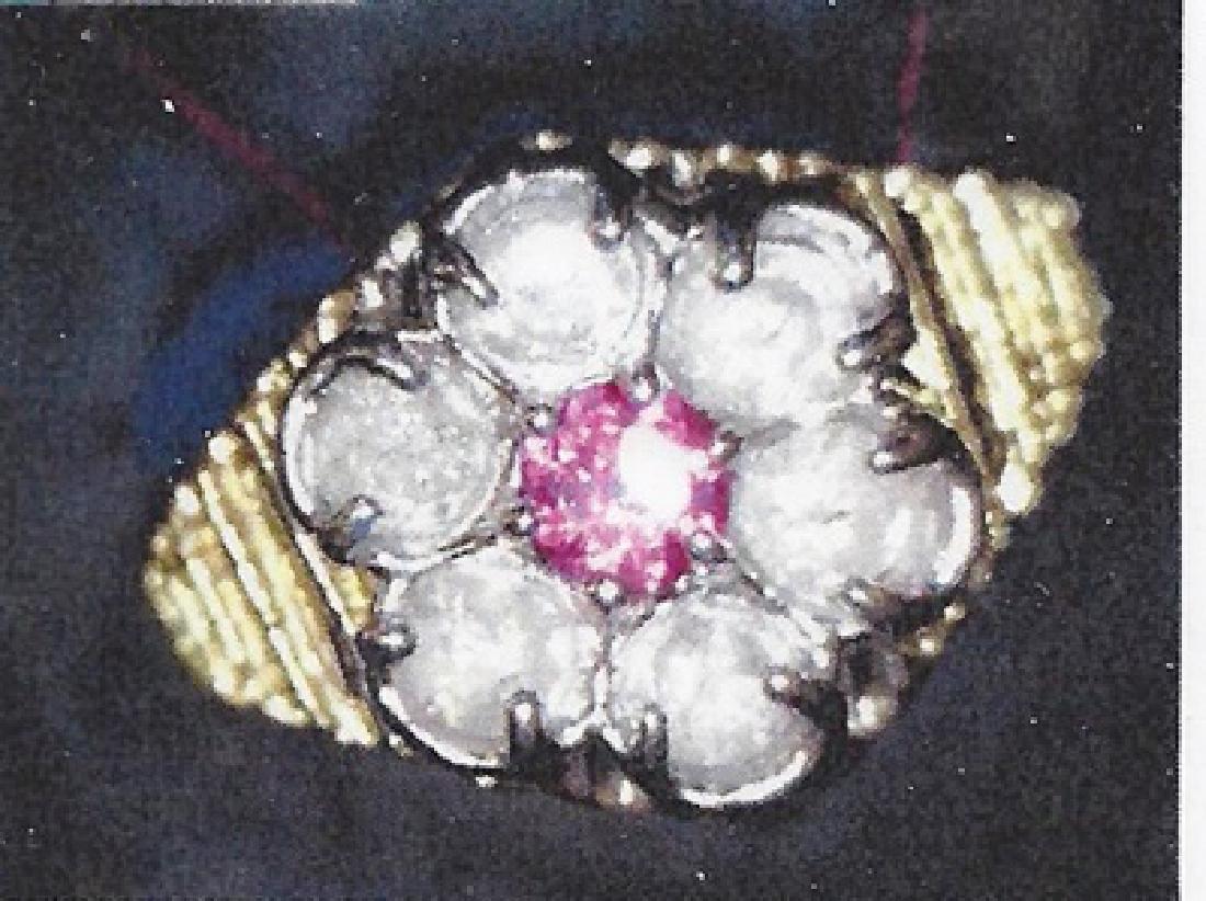 Ladys 10k yellow gold lab ruby/ diamond ring