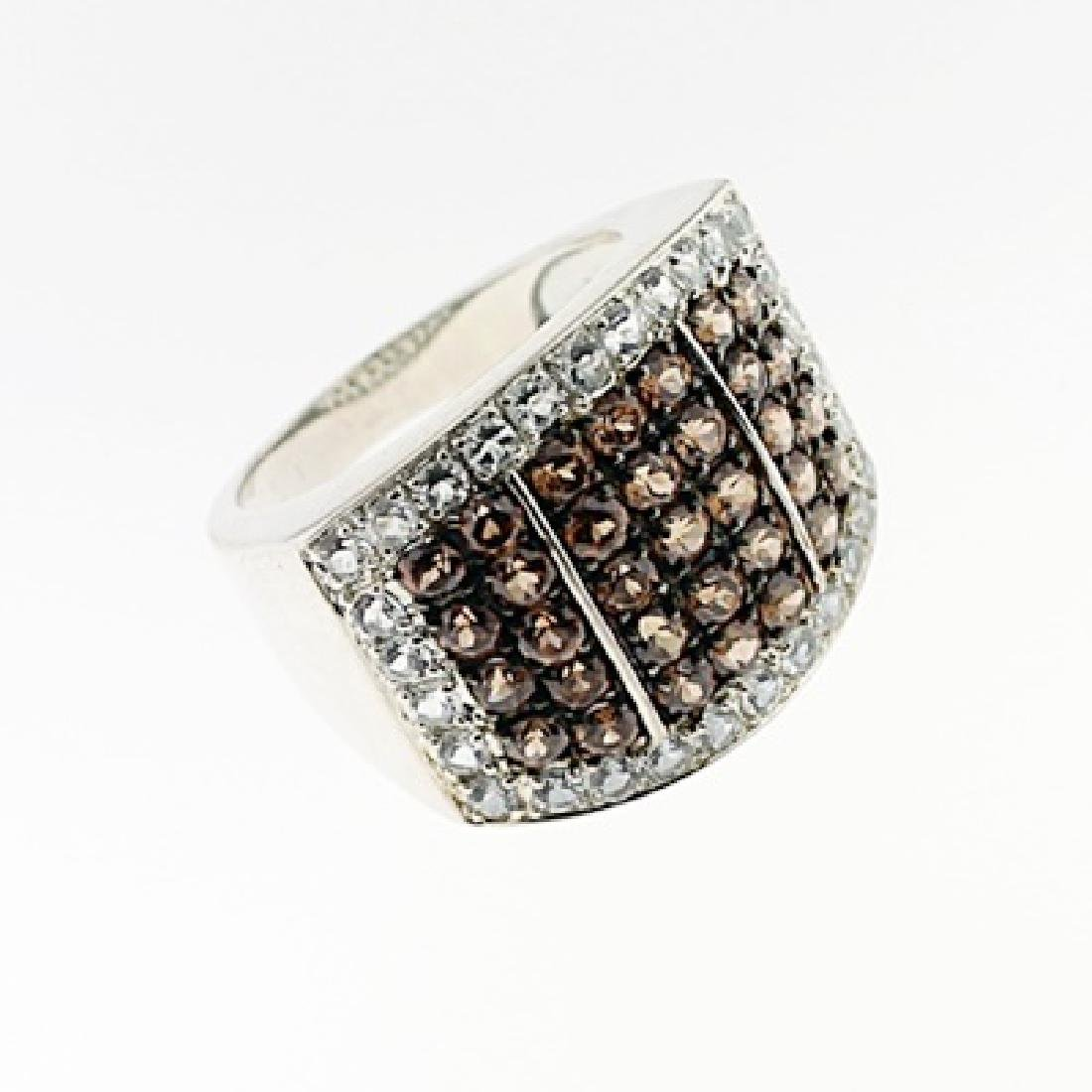 SILVER RING WITH CHOCOLATE ZIRCON AND WHITE ZIRCON