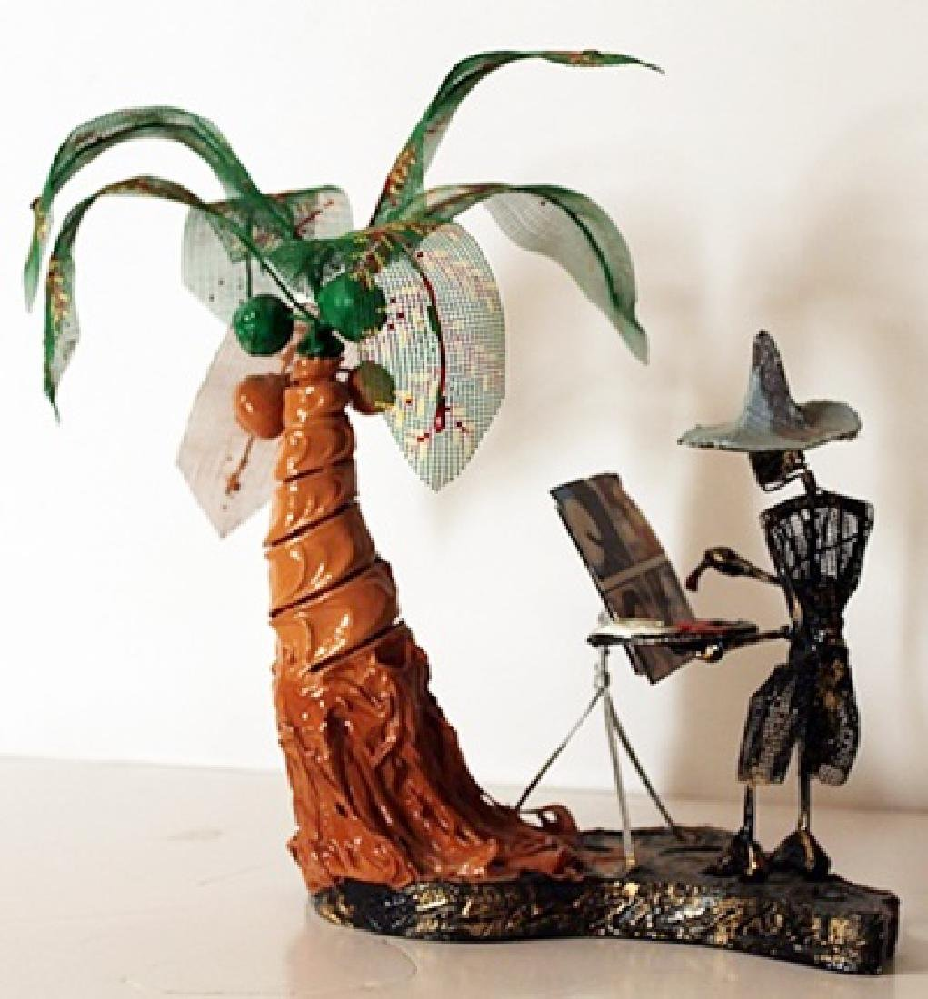 Painting in Paradise - Original Wire Frame Sculpture -