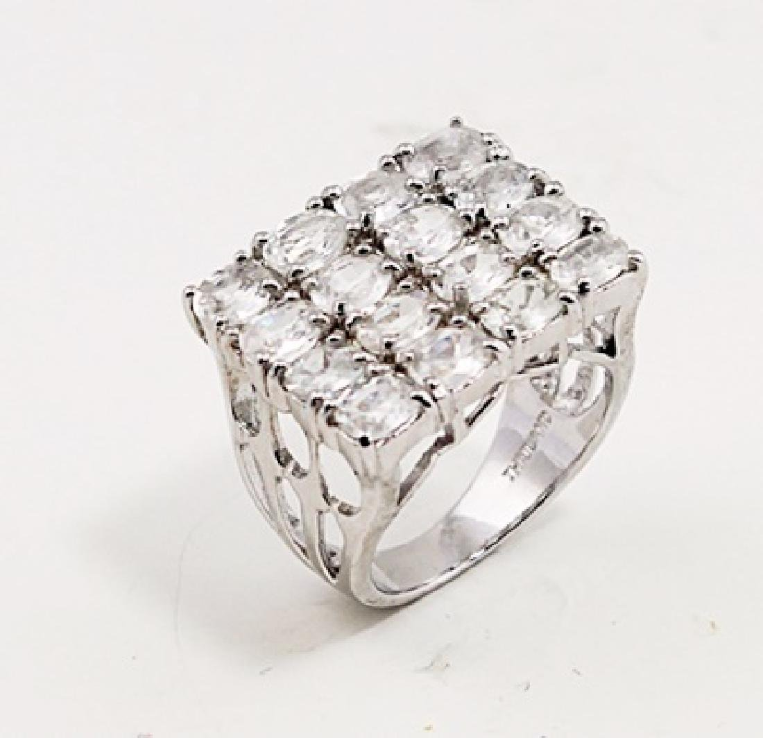 SILVER RING WITH WHITE ZIRCON