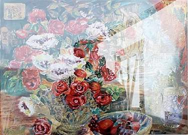 Red and White Flowers - Lithograph