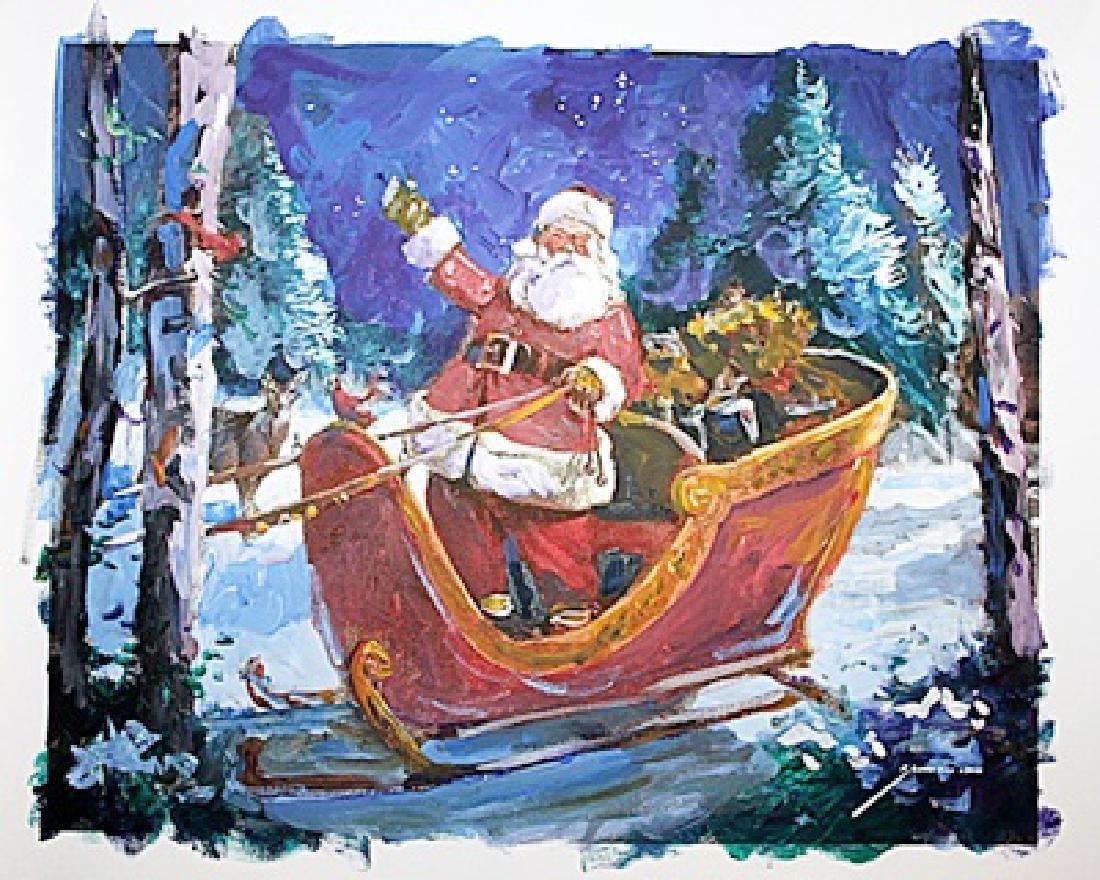Original Oil On Canvas - Santa Sleigh - Michael