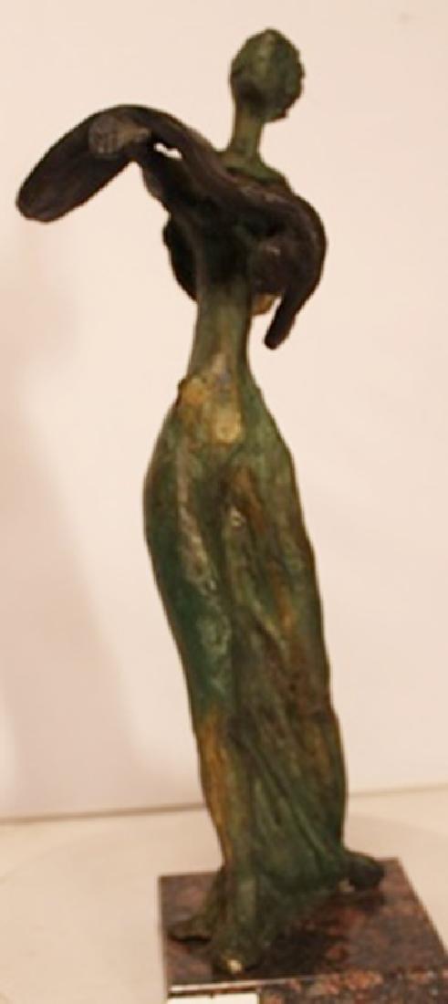 Lady with Melting Clock - Patina Bronze - Salvador Dali