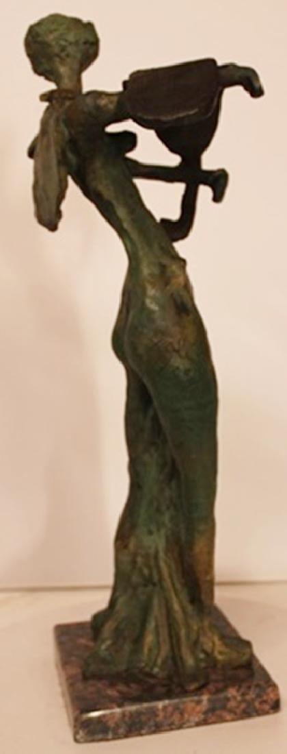 Lady with Melting Clock - Patina Bronze - Salvador Dali - 2