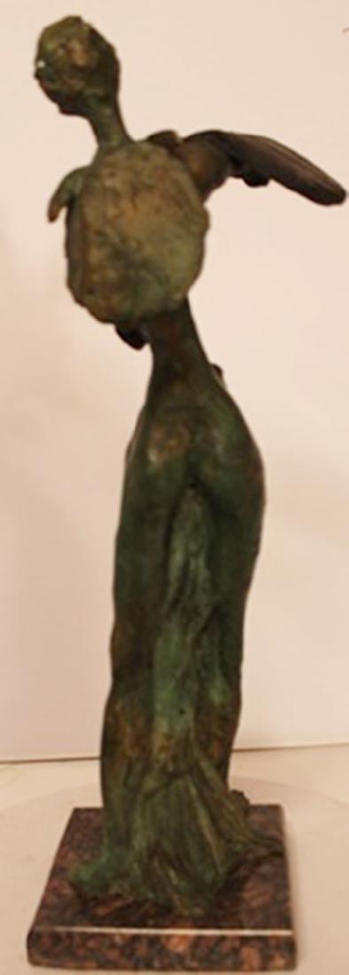 Lady with Melting Clock - Patina Bronze - Salvador Dali - 3