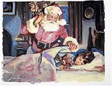 Original Oil On Canvas - Santa Arrives - Michael