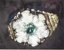 Ladys 10k yellow gold lab esmerald/ diamond ring