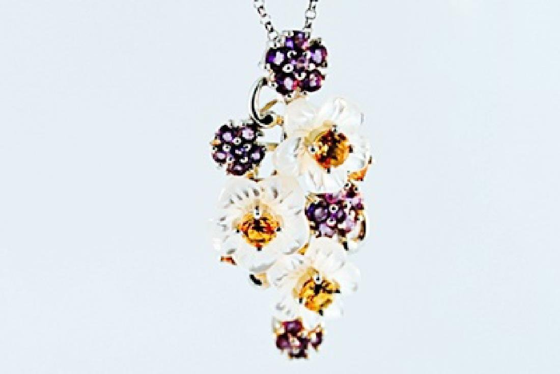 SILVER PENDANT WITH AMETHYST AND CITRENE