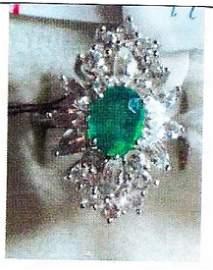 Ladys silver lab emeralda/lab sapphire ring