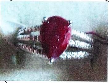 Ladys silver ruby/diamond ring