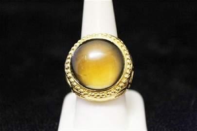 Fine 14kt Gold over Silver Tiger Eye Ring (48M)