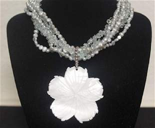 Ladys Fancy Pearl Necklace with Mother Pearl Pendant