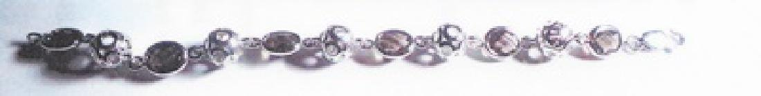 Ladys silver smokey quartz gem bracelet