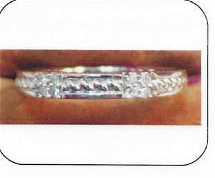 Ladys silver diamond design band