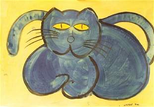 My Cat Walasse Ting Oil On Paper