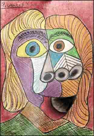 Pablo Picasso Pastel On Paper 0087