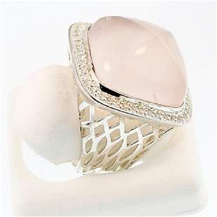 SILVER RING WITH ROSE QUARTZ AND WHITE TOPAZ