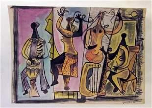 Mario Carreno The Musicians Watercolor