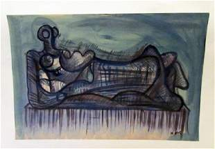 Henry Moore Untitled 1970 Watercolor