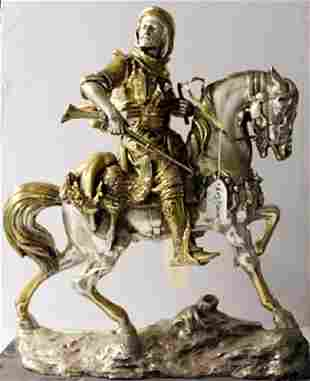 Arab on a Horseback TwoTone Gold and Bronze Sculpture