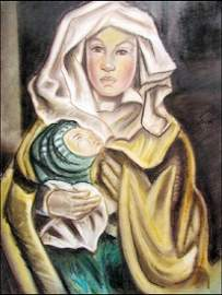 Mother With Child - Maria Blanchard - Pastel On Paper