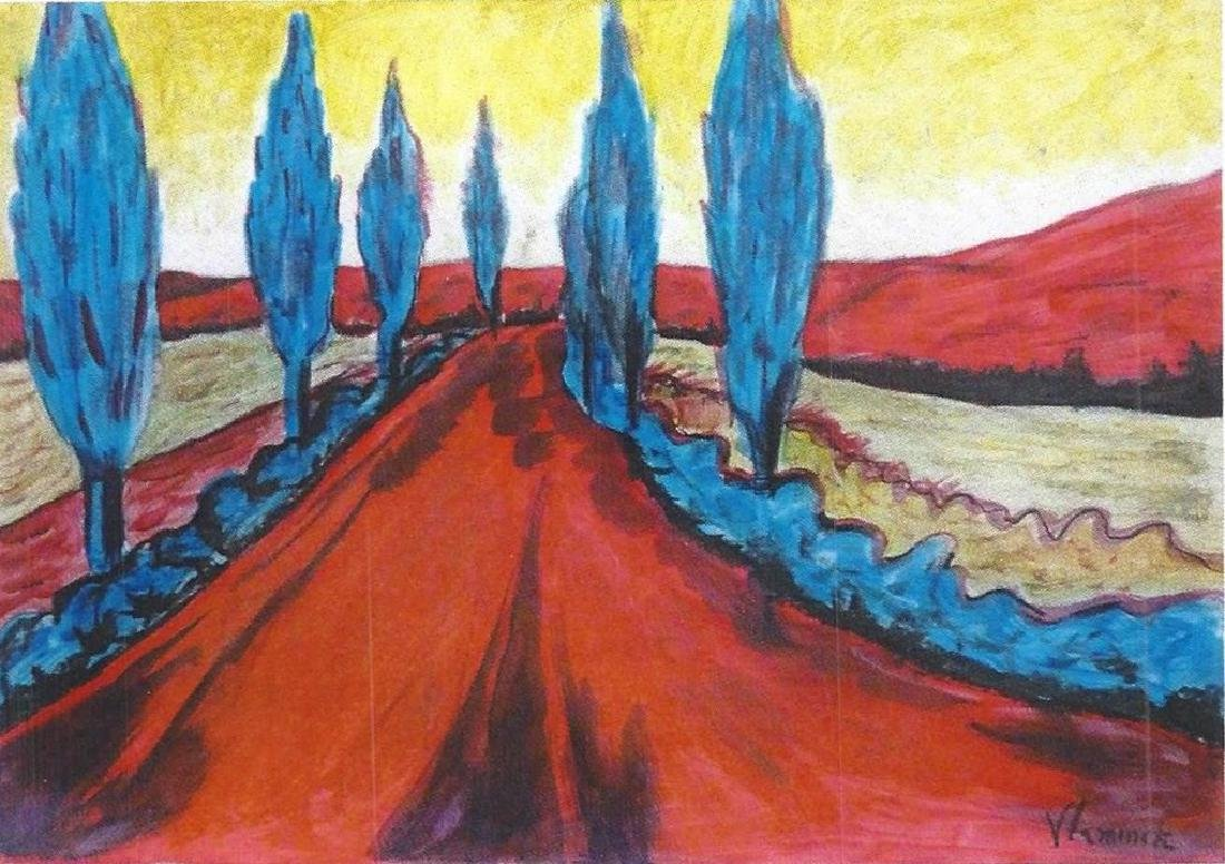 The Red Road - Maurice De Vlaminck - Pastel On Paper