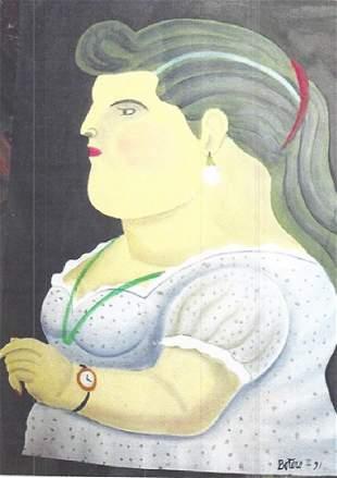 Ms Sara Fernando Botero Oil On Paper