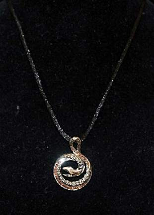 Fancy Silver Snake Shape Necklace with Golden Sapphires