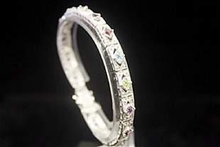 Gorgeous Peridot Amethyst Sapphires Silver Bracelet