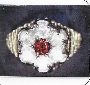 Ladys 10k yellow gold garnet diamond ring