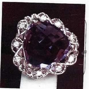 Ladys silver amethyst ring