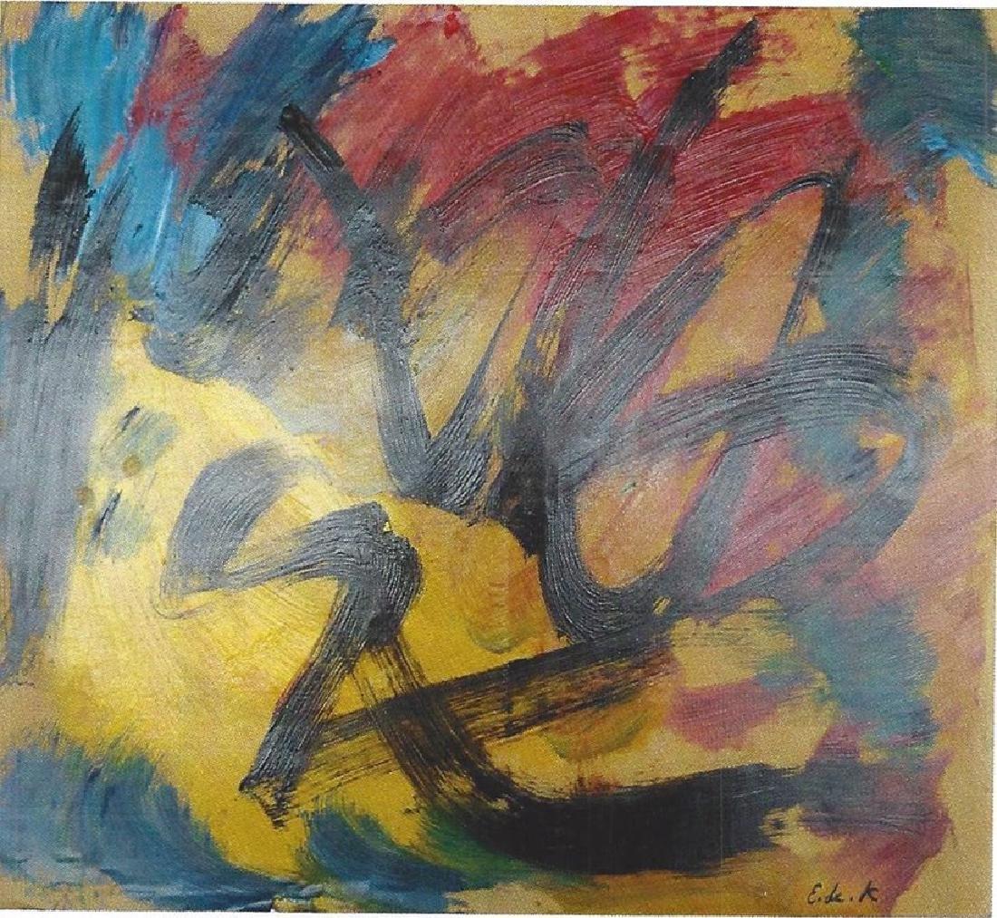 Composition - Elaine De Kooning  - Oil On Paper