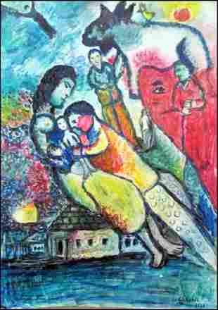 The Family Marc Chagall Pastel On Paper