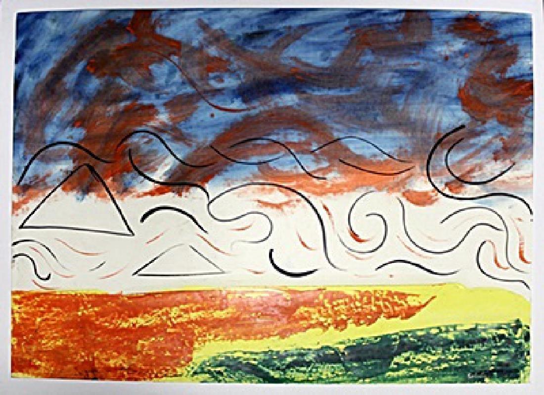Landscape - Mario Schifano - Oil On Paper - 2